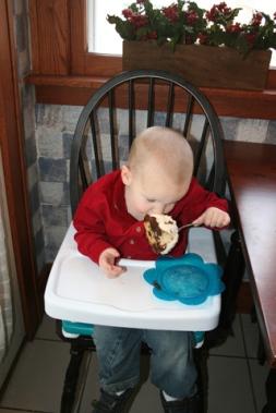 Sam devouring cake